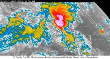 El frente frío no. 50 ocasionará lluvias intensas en Coahuila, Nuevo León y Tamaulipas
