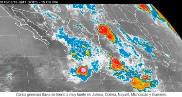 Carlos generará lluvia de fuerte a muy fuerte en Jalisco, Colima, Nayarit, Michoacán y Guerrero
