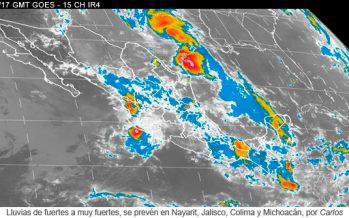 Lluvias de fuertes a muy fuertes, se prevén en Nayarit, Jalisco, Colima y Michoacán, por Carlos