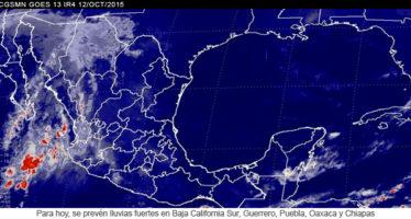 Lluvias fuertes en Baja California Sur, Guerrero, Puebla, Oaxaca y Chiapas