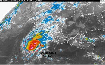 Huracán Sandra se intensifica, es ahora categoría 4