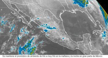 Se mantiene el pronóstico de ambiente de frío a muy frío en la mañana y la noche en gran parte de México