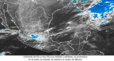 Ambiente de frío a muy frío con nieblas o neblinas, se pronostica en el norte, el noreste, el oriente y el centro de México