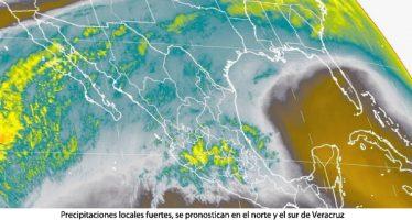 Precipitaciones locales fuertes, se pronostican en el norte y el sur de Veracruz