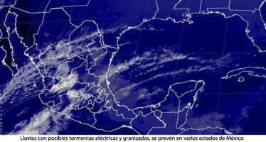 LLUVIAS CON POSIBLES TORMENTAS ELÉCTRICAS Y GRANIZADAS, SE PREVÉN EN VARIOS ESTADOS DE MÉXICO
