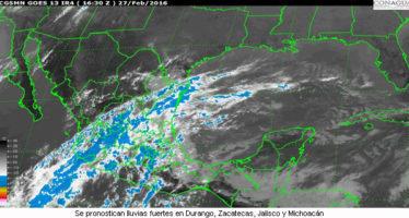 Se pronostican lluvias fuertes en Durango, Zacatecas, Jalisco y Michoacán