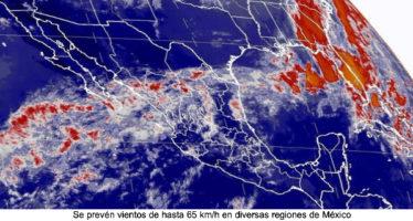 SE PREVÉN VIENTOS DE HASTA 65 KM/H EN DIVERSAS REGIONES DE MÉXICO