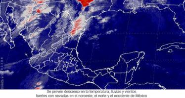 Se prevén descenso en la temperatura, lluvias y vientos fuertes con nevadas en el noroeste, el norte y el occidente de México