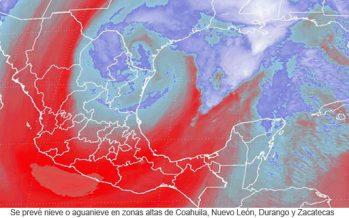 Se prevé nieve o aguanieve en zonas altas de Coahuila, Nuevo León, Durango y Zacatecas