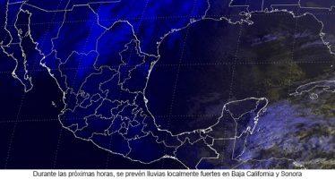Durante las próximas horas, se prevén lluvias localmente fuertes en Baja California y Sonora