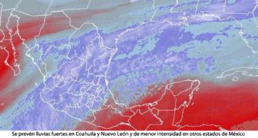 Se prevén lluvias fuertes en Coahuila y Nuevo León y de menor intensidad en otros estados de México