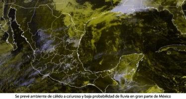 AMBIENTE DE CÁLIDO A CALUROSO Y BAJA PROBABILIDAD DE LLUVIA EN GRAN PARTE DE MÉXICO