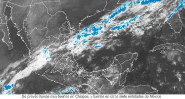lluvias muy fuertes en Chiapas, y fuertes en otras siete entidades de México