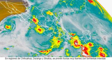 Lluvias en Chihuahua, Durango y Sinaloa y posibles tornados en Coahuila, Nuevo León y Tamaulipas