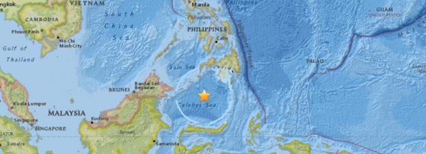 El mar de Célebes fue sacudido hoy por un terremoto de 7.2 grados