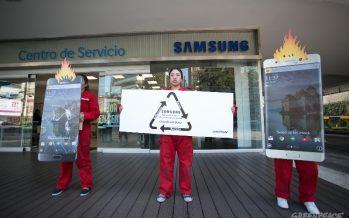 Visitamos las oficinas de Samsung para exigir reciclaje del Galaxy Note 7