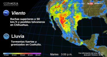 CHUBASCOS CON VIENTOS FUERTES Y POSIBLE CAÍDA DE GRANIZO EN EL CENTRO Y ORIENTE DEL TERRITORIO NACIONAL.