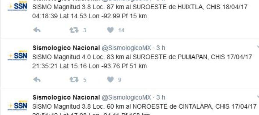 Se sacude Chiapas con tres sismos esta madrugada y anoche