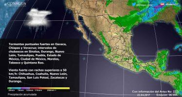 TORMENTAS PUNTUALES FUERTES CON ACTIVIDAD ELÉCTRICA EN VERACRUZ, OAXACA Y CHIAPAS