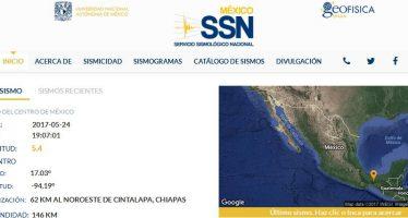 Sismo de 5.4 grados en Chiapas, afecta parte del sureste y centro de México