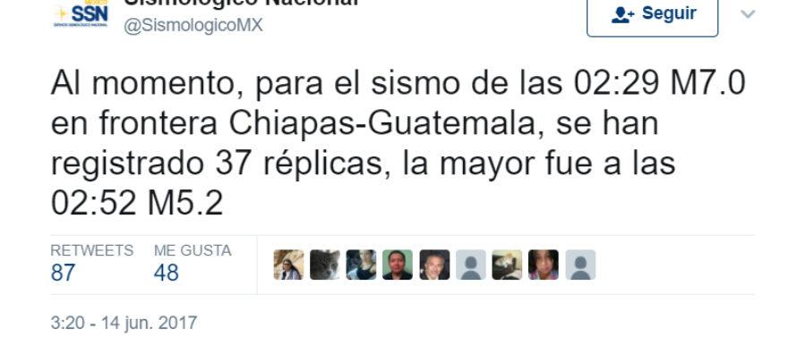 Sismo con magnitud de 7.0 en frontera Chiapas – Guatemala