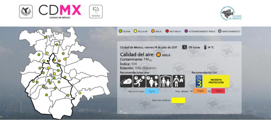 ¡Tome precauciones! Calidad del aire mala el día de hoy para CDMX