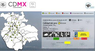 Calidad del aire permanece regular en CDMX