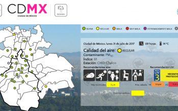 Calidad del aire continúa regular en CDMX