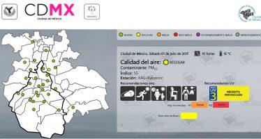 Calidad del aire continua regular en CDMX