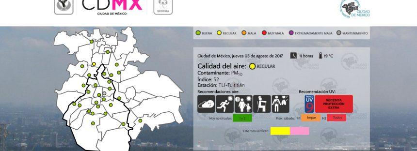 Calidad del aire regular en CDMX
