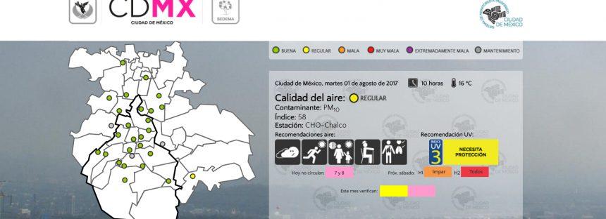 Calidad del aire permanece regular en la zona metropolitana