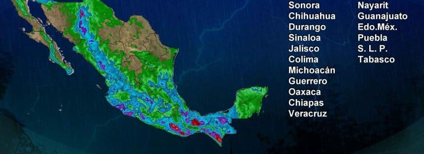 Lluvia en el norte, occidente, oriente y sureste de México