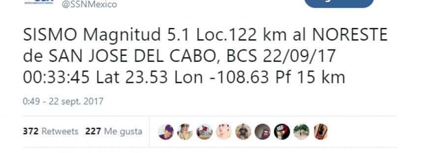 SISMO Magnitud 5.1 Loc.122 km al NORESTE de SAN JOSE DEL CABO, BCS