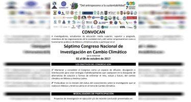 Convocatoria: Séptimo Congreso Nacional de Investigación en Cambio Climático
