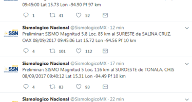 185 réplicas en las últimas horas del mega sismo de 8.2 Richter de anoche