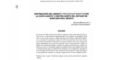 Distribución del manatí (Trichechus manatus) en la costa norte y centro-norte del estado de Quintana Roo, México