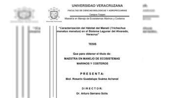 Caracterización del hábitat del manatí (Trichechus manatus manatus) en el sistema lagunar del Alvarado, Veracruz