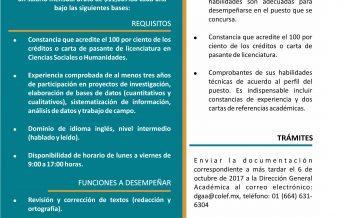 Convocatoria del Colegio de la Frontera Norte para dos plazas de Técnico Académico