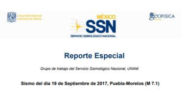 Resporte especial del Servicio Sismológico Nacional – Sismo del día 19 de Septiembre de 2017, Puebla-Morelos (M 7.1)