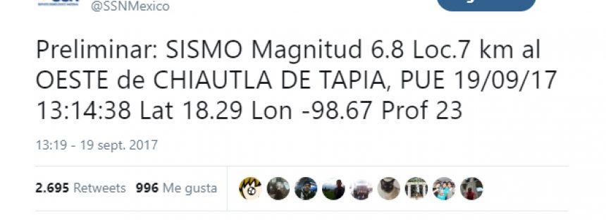 Sismo en el aniversario del terremoto de 1985. SSN Preliminar: 6.8 grados