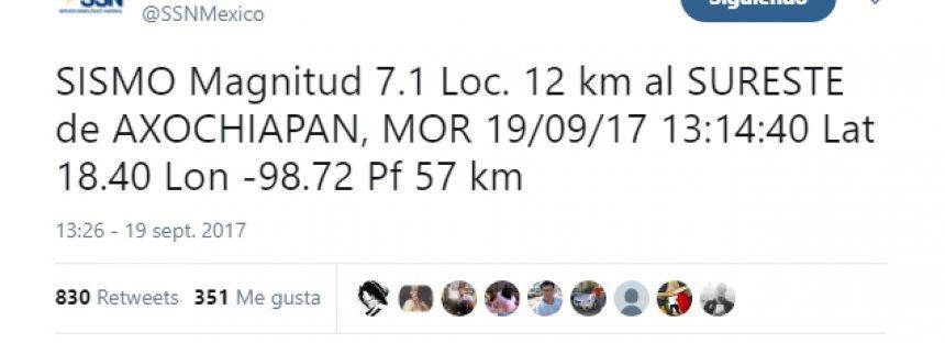 SISMO Magnitud 7.1, información del Servicio Sismológico Nacional