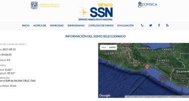 Se registra sismo a 41 km al sur de Salina Cruz, Oaxaca
