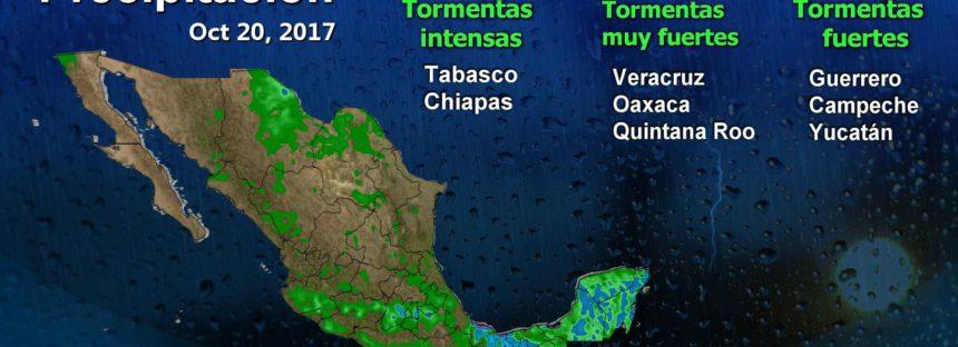Bajo agua, el sur de Veracruz, Tabasco y Chiapas; tormentas intensas todo el día