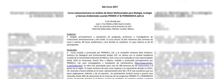 Curso Latinoamericano en análisis de datos multivariados para biología, ecología, y ciencias ambientales