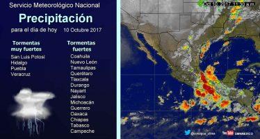 Temperaturas de hasta 40 grados Celsius en la mayor parte de México y tormentas en San Luis Potosí, Hidalgo, Puebla y Veracruz