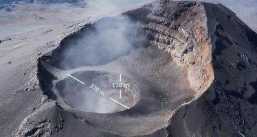 Aumenta de tamaño el cráter del Popocatépetl y aparece una nueva depresión