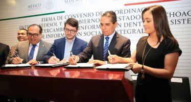 Silvano Aureoles y Sedesol firman convenio para focalizar beneficios de programas sociales