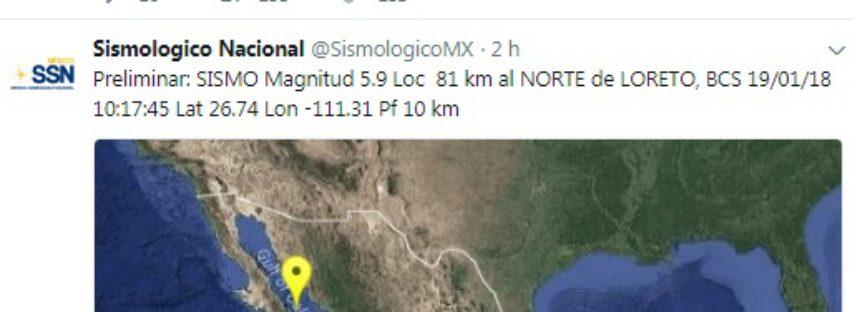 Sismo de magnitud 6.3 grados en el Mar de Cortés frente a costas de BCS y Sinaloa