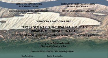 Tercer Seminario Naturaleza- Sociedad Miradas Multidisciplinarias, diversidad social y natural: globalización, instituciones y arte
