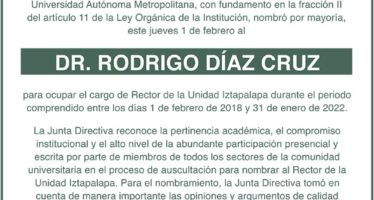 Universidad Autónoma Metropolitana nombra rector al Dr. Rodrigo Díaz Cruz